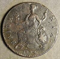 AUTH. AMERICAN REVOLUTIONARY WAR COIN 1774 YEAR AFT BOS T