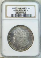 1880 O MORGAN DOLLAR NGC MINT STATE 61 VAM 5 8/7 MEDIUM O TOP100