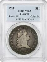 1795 $1 PCGS VF 25 TWO LEAVES , GREAT VALUE