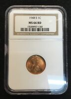 1948 S LINCOLN CENT NGC MINT STATE 66 RD
