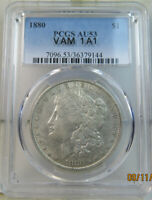 1880 MORGAN DOLLAR PCGS AU53 VAM 1A1 KNOBBED 8 EDS/DIE BREAK WREATH BR