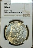 1887 S MORGAN SILVER DOLLAR  - NGC MINT STATE 60 REALLY BEAUTIFUL COIN