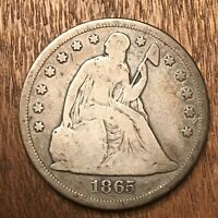 1865 RARE $1 SEATED LIBERTY DOLLAR VG NICELY TONED