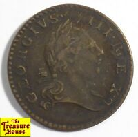 1773 GEORGE III VIRGINIA AMERICA COLONIAL COPPER COIN HALFPENNY 1/2 PENNY PERIOD