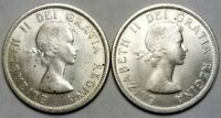 2   1958 CANADA SILVER DOLLARS BRITISH COLUMBIA