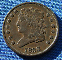 VERY NICE LOOKING 1833 HALF CENT CLASSIC HEAD   ESTATE FRES