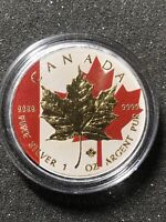 2014 SILVER MAPLE LEAF GOLD PLATED FLAG COIN CANADA