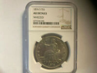 1876 S TRADE SILVER DOLLAR   NGC AU DETAILS   WHIZZED