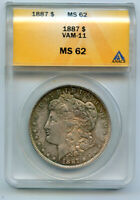 1887-P MORGAN SILVER DOLLAR, ANACS MINT STATE 62, VAM-11 DOUBLED 18-7, 7 IN DENTICLES