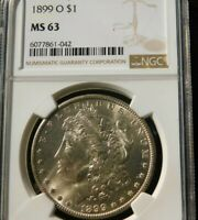 MIXED DATES 1878-1904 MORGAN SILVER DOLLAR - WHITE - NGC MINT STATE 63 OVER STOCK SPECIAL