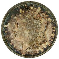 1880-S MORGAN SILVER DOLLAR    NGC  MINT STATE 63  WILD TONING   OLD HOLDER