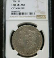 1894 MORGAN SILVER DOLLAR $1 - CERTIFIED NGC F DETAILS -  KEY DATE