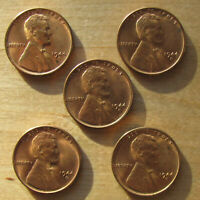 LOT OF FIVE FULL RED 1944 S LINCOLN WHEAT CENTS   CLOSE UP PHOTO INCULDED