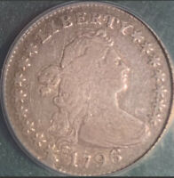 1796 DRAPED BUST DIME ANACS F12 DETAILS CLEANED