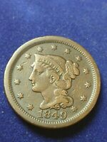 1849 BRAIDED HAIR LARGE CENT PENNY   NICE CIRCULATED CONDITI