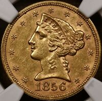 1856 LIBERTY HEAD $5 GOLD HALF EAGLE NGC AU58 SUPER PLEASING