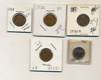1930D 1932 1933 1934 1934D EXTRA FINE  LINCOLN CENTS LOT OF 5