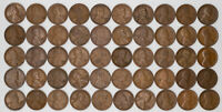 1929 D LINCOLN WHEAT CENT 1C AVERAGE CIRCULATED TO FINE - 2 FULL ROLLS 100 COINS