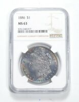 MINT STATE 63 1886 MORGAN SILVER DOLLAR - NGC BLUEBERRY TONE 0453