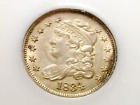 MOSTLY WHITE 1834 ALMOST GEM CAPPED BUST HALF DIME - LITTLE TONING.