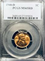 1940 D PCGS MINT STATE 65 RD LINCOLN CENT