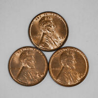 1935 P / D / S LINCOLN WHEAT CENT 1C CHOICE BU UNC RB/RD - 3 COIN LOT 2322