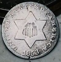 1853 THREE CENT SILVER PIECE TRIME 3C TYPE 1 UNGRADED GOOD DATE US COIN CC4786