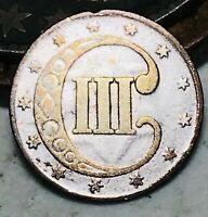 1852 THREE CENT SILVER PIECE TRIME 3C TYPE 1 HIGH GRADE DETAILS US COIN CC4788