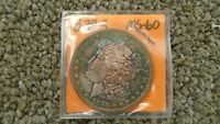 1878 S MORGAN DOLLAR BU NATURAL RAINBOW TONE
