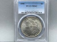 1890-P PCGS MINT STATE 63 MORGAN SILVER DOLLAR PREMIUM QUALITY W/ GREAT LUSTER