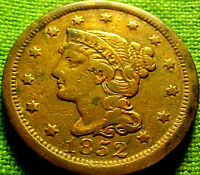 1852 BRAIDED LARGE CENT 1C   BRIGHT HIGHER GRADE COIN W/ SOLID DETAILS 81AJ