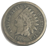 1860 C/N INDIAN CENT ROUND BUST UNCERTIFIED F