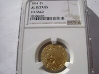 1914 $5 HALF EAGLE INDIAN HEAD GOLD COIN NGC AU DETAIL CLEAN
