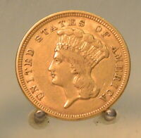 1854 INDIAN PRINCESS $3 THREE DOLLAR UNITED STATES GOLD COIN. NICE DETAILS