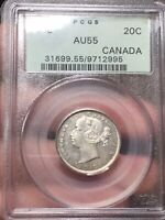 1858 CANADA 20 CENTS | PCGS AU55 | REVISED 5 VARIETY | $900  TREND