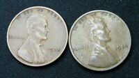 1935 & 1936  P  LINCOLN HEAD PENNY'S  SHIPS FREE
