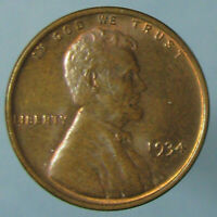 GLOSSY BROWN CHOICE UNCIRCULATED 1934 LINCOLN WHEAT CENT   SOME MINT RED REMAINS