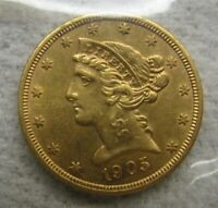 1905 S HALF EAGLE $5 GOLD COIN ICG MS 63 TO PF 63