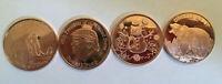 LOT OF 4 TRUMP/SNOWMAN/GRIZZLY/MAMMOTH 1 OZ. PURE COPPER ROUNDS  LIGHTLY TONED