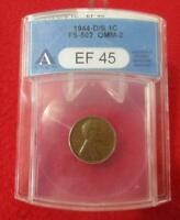 1944-D/S ANACS EF 45  LINCOLN WHEAT CENT     FS-502  OMM-2                 MF-T