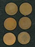 1866 1867 1868 1869 1872 1877 INDIAN HEAD PENNIES LOT OF 6