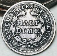 1857 SEATED LIBERTY HALF DIME 5C HIGH GRADE DETAILS GOOD SILVER US COIN CC4951