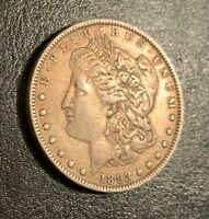 1893 MORGAN SILVER DOLLAR, HIGH GRADE, BEAUTIFULLY TONED - ONLY 378,792 MINTED