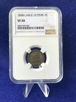 1858 LARGE LETTERS  FLYING EAGLE CENT 1C PENNY NGC VF20  FINE