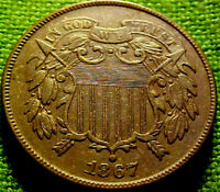 1867 TWO CENT PIECE 2C BETTER DATE HIGHER GRADE COLN W/ SOLID DETAILS  62AJ