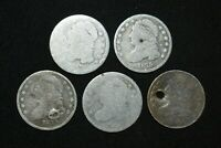 E10. LOT OF 5 SILVER CAPPED BUST DIMES AS SHOWN CONDITION 18