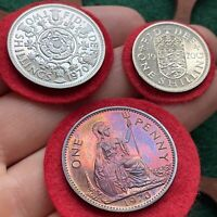 ELIZABETH II. PROOF ISSUE FLORIN SHILLING AND PENNY 1970.  3