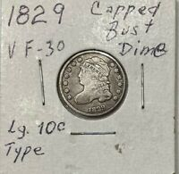 1829 CAPPED BUST DIME VF