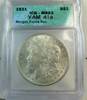 1921 MORGAN DOLLAR ICG MINT STATE 63 VAM 41A PITTED REVERSE TOP100 BR