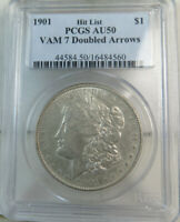 1901 MORGAN DOLLAR PCGS AU50 VAM 7 DOUBLED ARROWS HITLIST40 MA